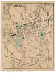 Dedham Village Center, Massachusetts 1876 Old Town Map Reprint - Norfolk Co.