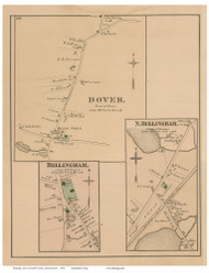 Dover, Bellingham and North Bellingham Villages, Massachusetts 1876 Old Town Map Reprint - Norfolk Co.