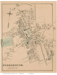 Foxborough Village, Massachusetts 1876 Old Town Map Reprint - Norfolk Co.