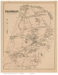 Franklin, Massachusetts 1876 Old Town Map Reprint - Norfolk Co.