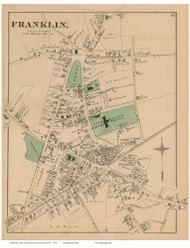 Franklin Village, Massachusetts 1876 Old Town Map Reprint - Norfolk Co.