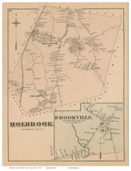 Holbrook and Brookville Village, Massachusetts 1876 Old Town Map Reprint - Norfolk Co.