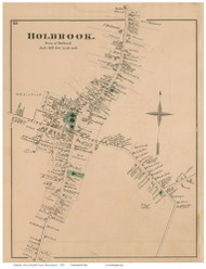 Holbrook Village, Massachusetts 1876 Old Town Map Reprint - Norfolk Co.