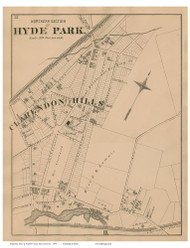 Hyde Park - North Section, Massachusetts 1876 Old Town Map Reprint - Norfolk Co.