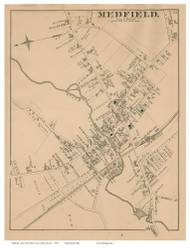 Medfield Village, Massachusetts 1876 Old Town Map Reprint - Norfolk Co.
