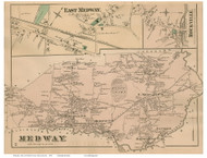 Medway Town, East Medway and Rockville Villages, Massachusetts 1876 Old Town Map Reprint - Norfolk Co.