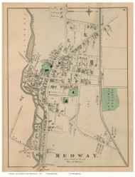 Medway Village, Massachusetts 1876 Old Town Map Reprint - Norfolk Co.