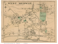 West Medway, Massachusetts 1876 Old Town Map Reprint - Norfolk Co.