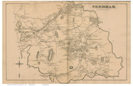 Needham, Massachusetts 1876 Old Town Map Reprint - Norfolk Co.