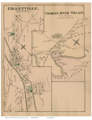 Grantville and Charles River Villages - Needham, Massachusetts 1876 Old Town Map Reprint - Norfolk Co.