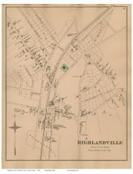 Highlandville - Needham, Massachusetts 1876 Old Town Map Reprint - Norfolk Co.