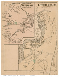 Needham and Lower Falls Villages, Massachusetts 1876 Old Town Map Reprint - Norfolk Co.