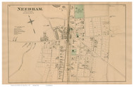 Needham Village, Massachusetts 1876 Old Town Map Reprint - Norfolk Co.