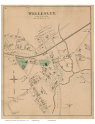 Wellesley - Needham, Massachusetts 1876 Old Town Map Reprint - Norfolk Co.