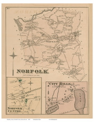Norfolk Town, Norfolk Center and City Mills Villages, Massachusetts 1876 Old Town Map Reprint - Norfolk Co.