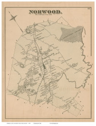Norwood, Massachusetts 1876 Old Town Map Reprint - Norfolk Co.