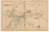 Norwood Village, Massachusetts 1876 Old Town Map Reprint - Norfolk Co.