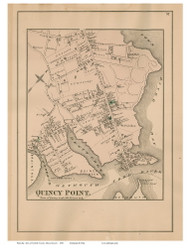 Quincy Point, Massachusetts 1876 Old Town Map Reprint - Norfolk Co.