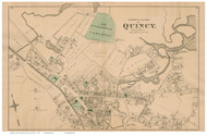 Quincy Village - North Section, Massachusetts 1876 Old Town Map Reprint - Norfolk Co.