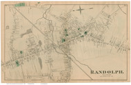 Randolph Village, Massachusetts 1876 Old Town Map Reprint - Norfolk Co.