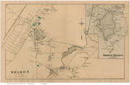 Sharon and Sharon Heights Villages, Massachusetts 1876 Old Town Map Reprint - Norfolk Co.