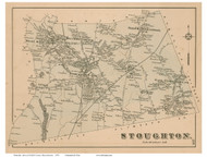 Stoughton, Massachusetts 1876 Old Town Map Reprint - Norfolk Co.