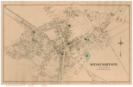 Stoughton Village, Massachusetts 1876 Old Town Map Reprint - Norfolk Co.