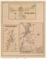 North Stoughton, West Stoughton and Belcher's Corner Villages, Massachusetts 1876 Old Town Map Reprint - Norfolk Co.