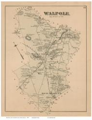 Walpole, Massachusetts 1876 Old Town Map Reprint - Norfolk Co.