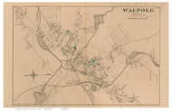 Walpole Village, Massachusetts 1876 Old Town Map Reprint - Norfolk Co.