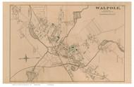 Walpole Village, Massachusetts 1876 Old Town Map Reprint - Norfolk Co.
