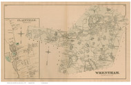 Wrentham and Plainville Village, Massachusetts 1876 Old Town Map Reprint - Norfolk Co.
