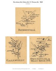 Davidsonville, Galesville, Owensville - 1st District, Davidsonville, Maryland 1860 Old Town Map Custom Print - Anne Arundel Co.
