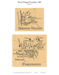 Bristol Village and Friendship Village - 8th District, Bristol, Maryland 1860 Old Town Map Custom Print - Anne Arundel Co.