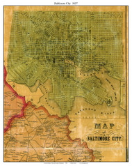 Baltimore City, Maryland 1857 Old Town Map Custom Print - Baltimore Co.
