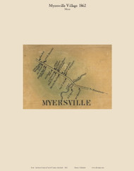 Myersville Village - Meyers, Maryland 1862 Old Town Map Custom Print - Carroll Co.