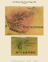 New Windsor and Mount Vernon Villages - New Windsor, Maryland 1862 Old Town Map Custom Print - Carroll Co.