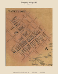 Taneytown Village - Taneytown, Maryland 1862 Old Town Map Custom Print - Carroll Co.