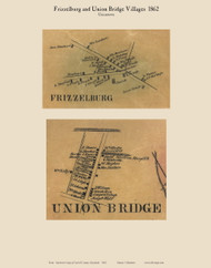 Frizzelburg and Union Bridge Villages - Uniontown, Maryland 1862 Old Town Map Custom Print - Carroll Co.