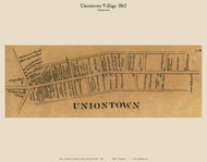 Uniontown Village - Uniontown, Maryland 1862 Old Town Map Custom Print - Carroll Co.