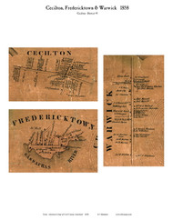 Cecilton, Fredericktown, and Warwick Villages - Cecilton, Maryland 1858 Old Town Map Custom Print - Cecil Co.