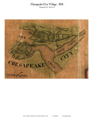 Chesapeake City Village - Chesapeake City, Maryland 1858 Old Town Map Custom Print - Cecil Co.