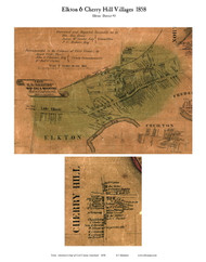 Elkton and Cherry Hill Villages - Elkton, Maryland 1858 Old Town Map Custom Print - Cecil Co.