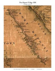Port Deposit Village - Port Deposit, Maryland 1858 Old Town Map Custom Print - Cecil Co.