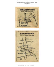 Creagerstown and Lewistown Villages - Creagerstown, Maryland 1858 Old Town Map Custom Print - Frederick Co.