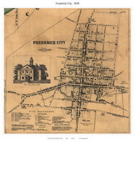 Frederick City, Maryland 1858 Old Town Map Custom Print - Frederick Co.