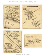 Petersville, Burkittsville,  Knoxville, Weverton, and Berlin Villages - Petersville, Maryland 1858 Old Town Map Custom Print - Frederick Co.