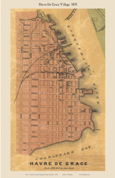 Havre De Grace Village - Havre De Grace, Maryland 1878 Old Town Map Custom Print - Harford Co.