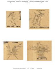 Galena, Georgetown, Head of Sassafras, and Millington Villages - Galena, Maryland 1860 Old Town Map Custom Print - Kent Co.