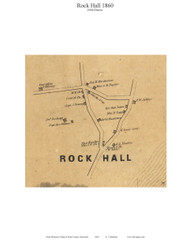 Rock Hall Village - Rock Hall, Maryland 1860 Old Town Map Custom Print - Kent Co.
